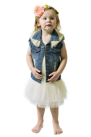 sassy Bling Ruffle Denim Vest - Front cropped