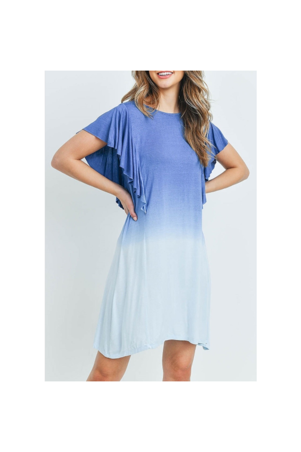 13 Factory Ruffle Detail Blue Ombre Tunic Dress - Front Full Image