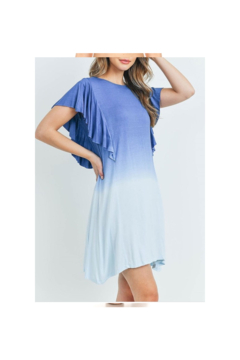 13 Factory Ruffle Detail Blue Ombre Tunic Dress - Product List Image