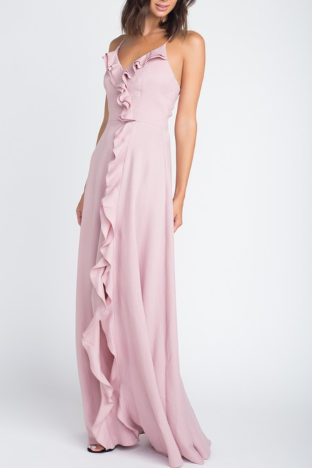 Minuet Ruffle Detail Gown - Front Cropped Image