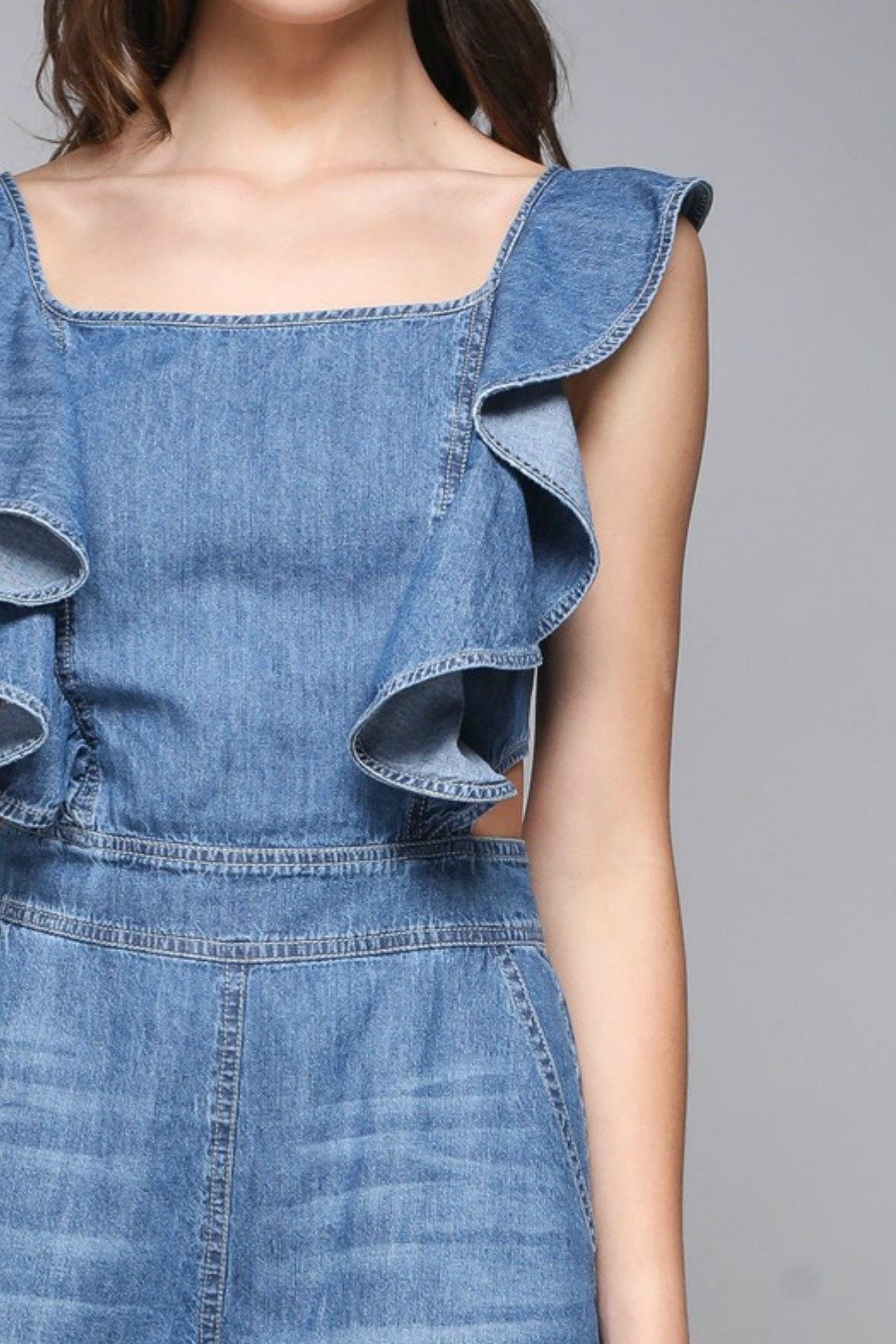 Do & Be Ruffle Detail Romper - Back Cropped Image