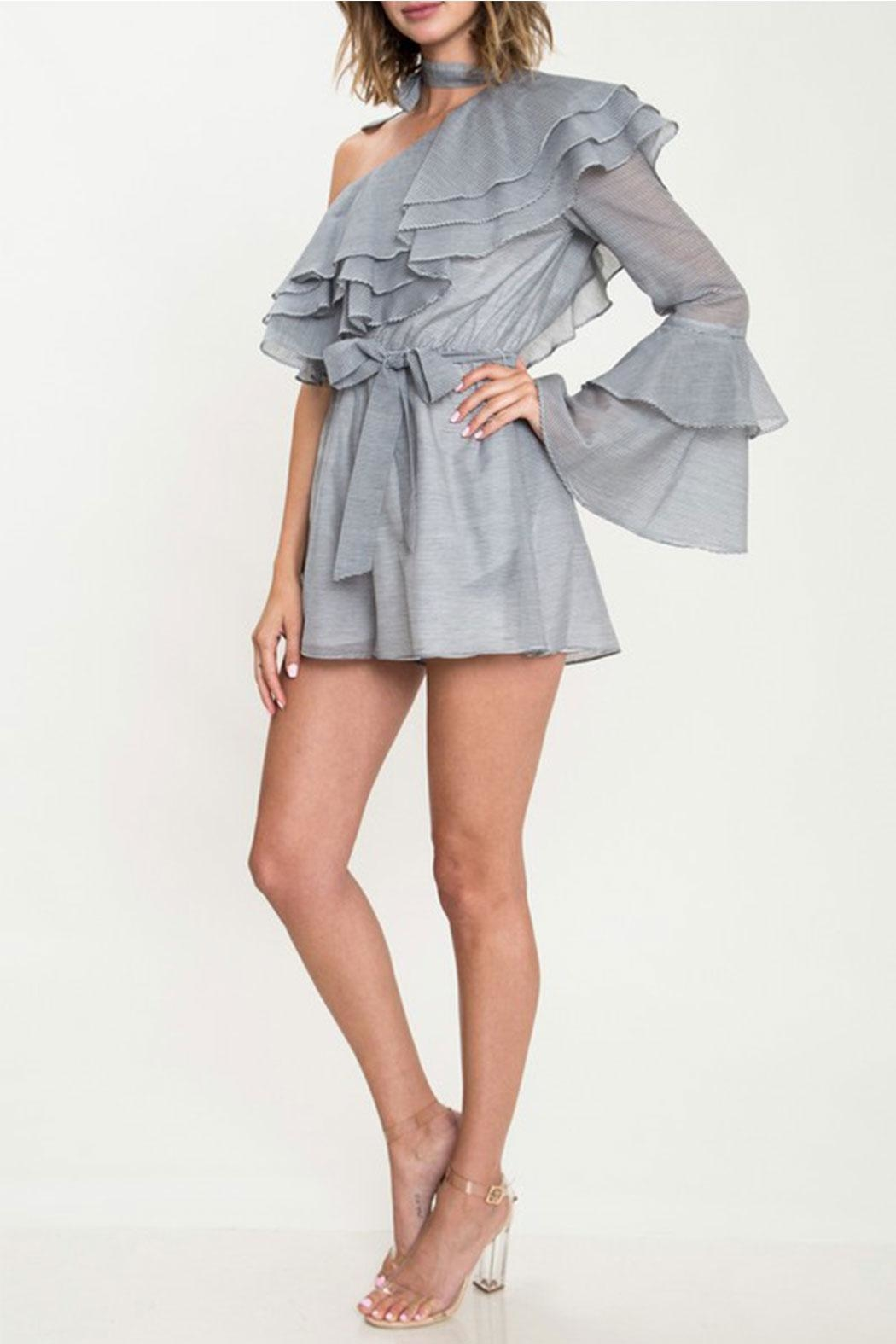L'atiste Ruffle Detail Romper - Front Full Image