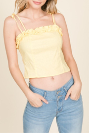 Lumiere Ruffle Detail Tank - Front cropped