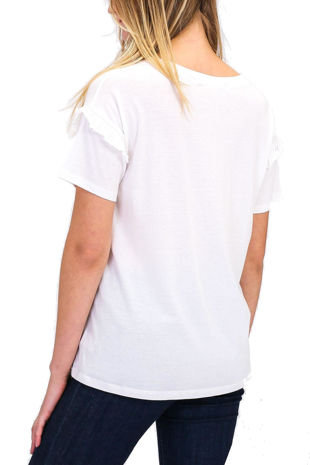 Double Zero Ruffle Detail Tee - Front Full Image
