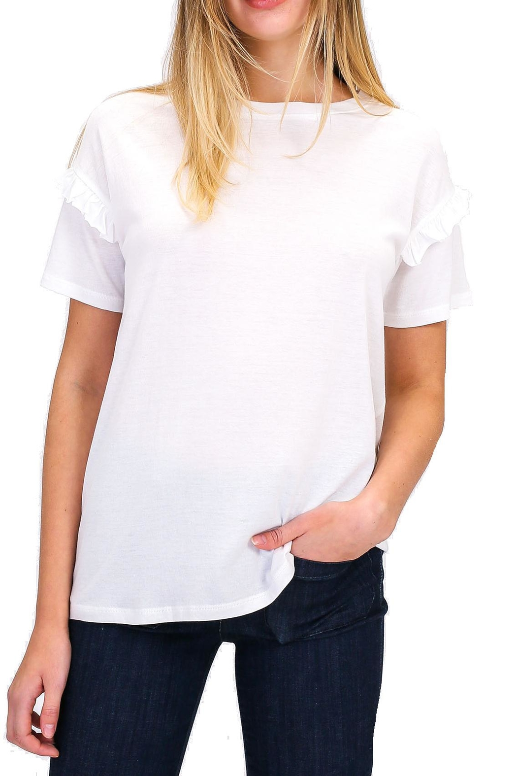 Double Zero Ruffle Detail Tee - Front Cropped Image