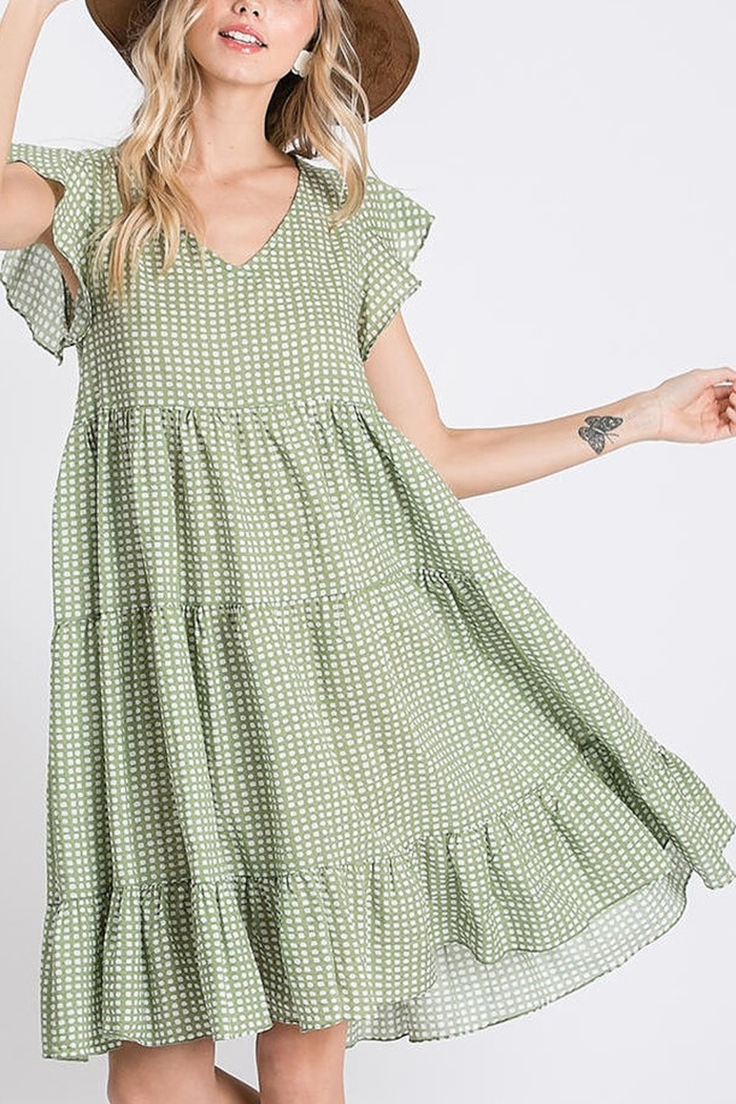 Ces Femme  Ruffle Dotty Dress - Front Cropped Image