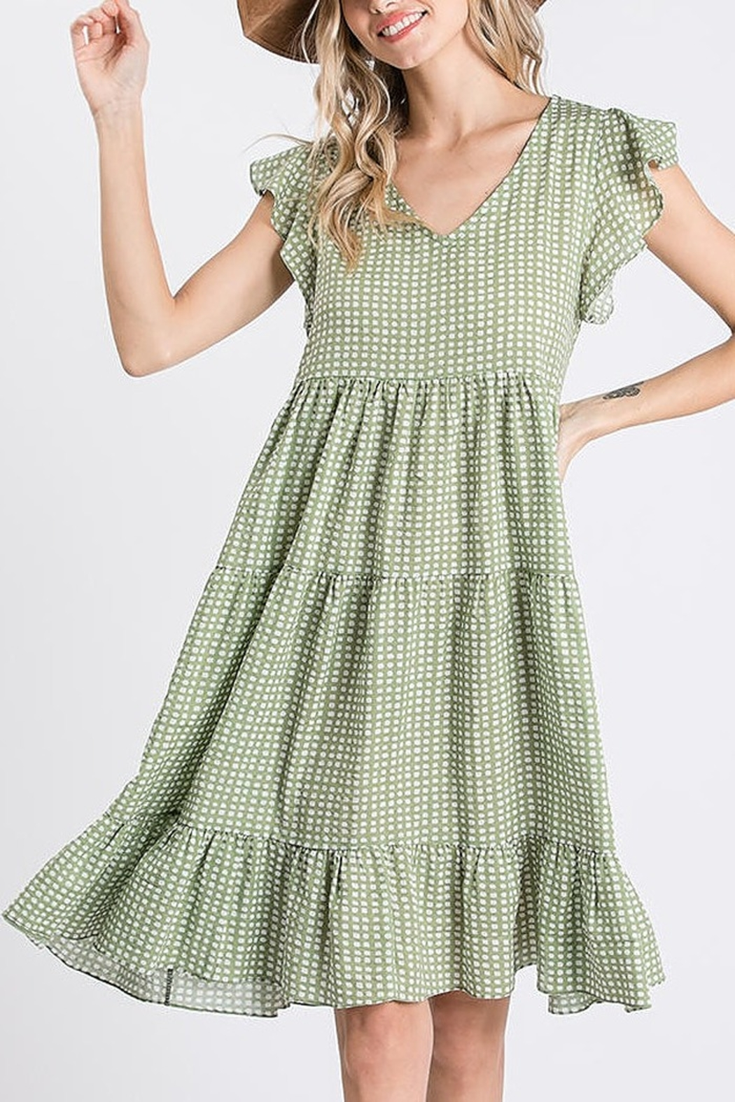 Ces Femme  Ruffle Dotty Dress - Side Cropped Image