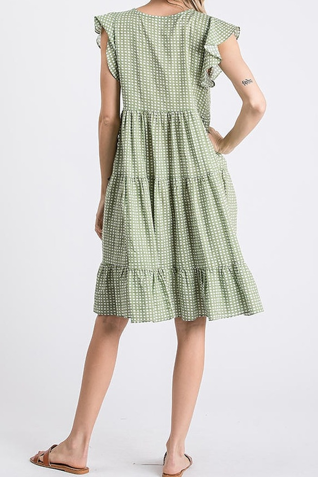 Ces Femme  Ruffle Dotty Dress - Front Full Image