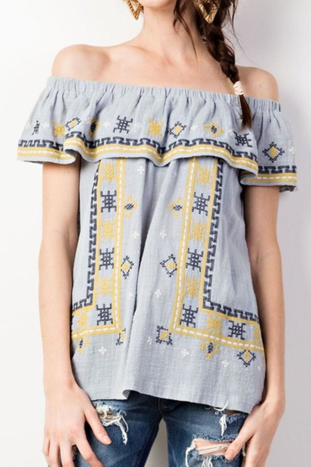 easel Ruffle Embroidered Tunic - Main Image