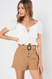 blue blush Ruffle Eyelet Top - Product Mini Image