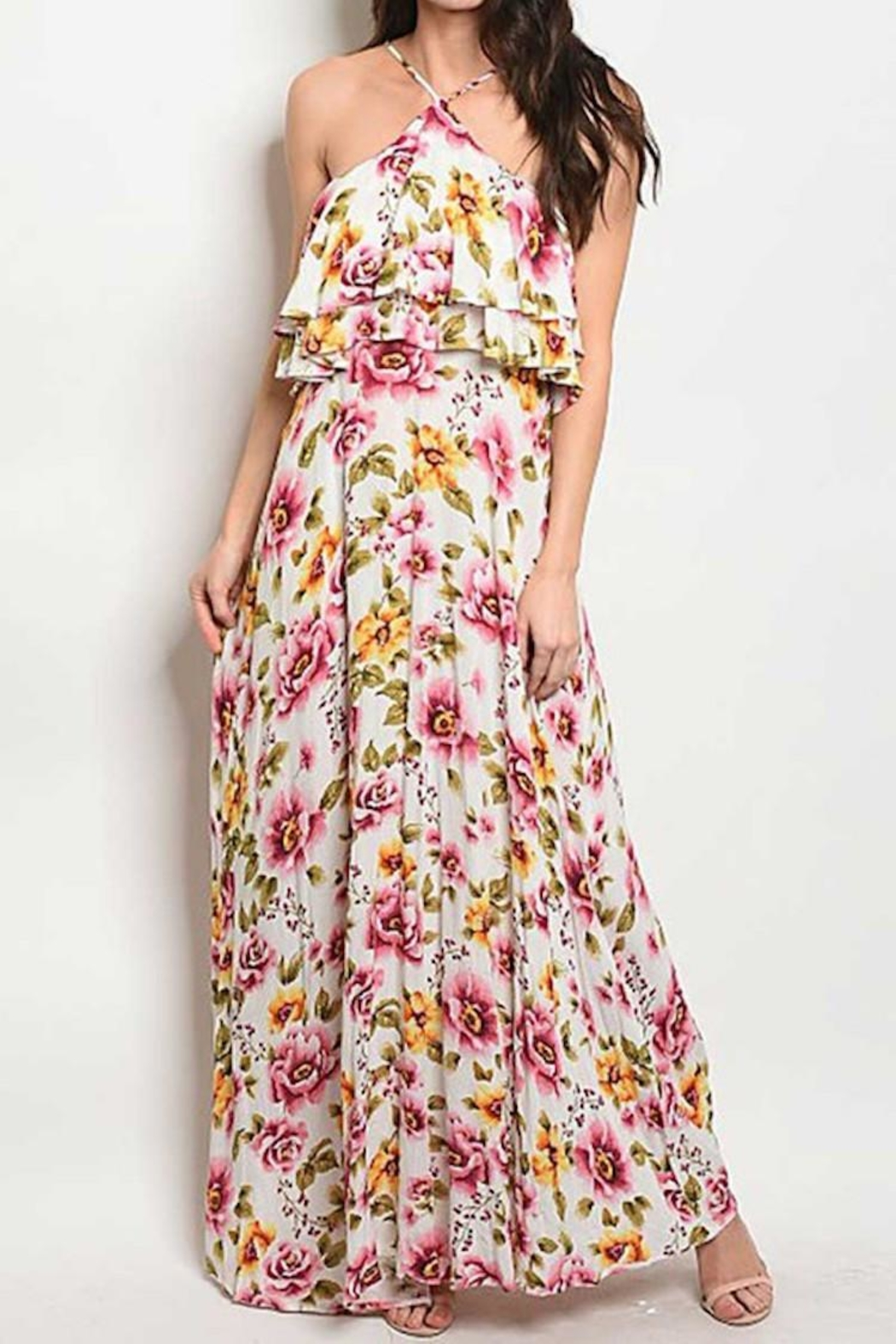 Compendium boutique Ruffle Floral Maxi - Front Cropped Image