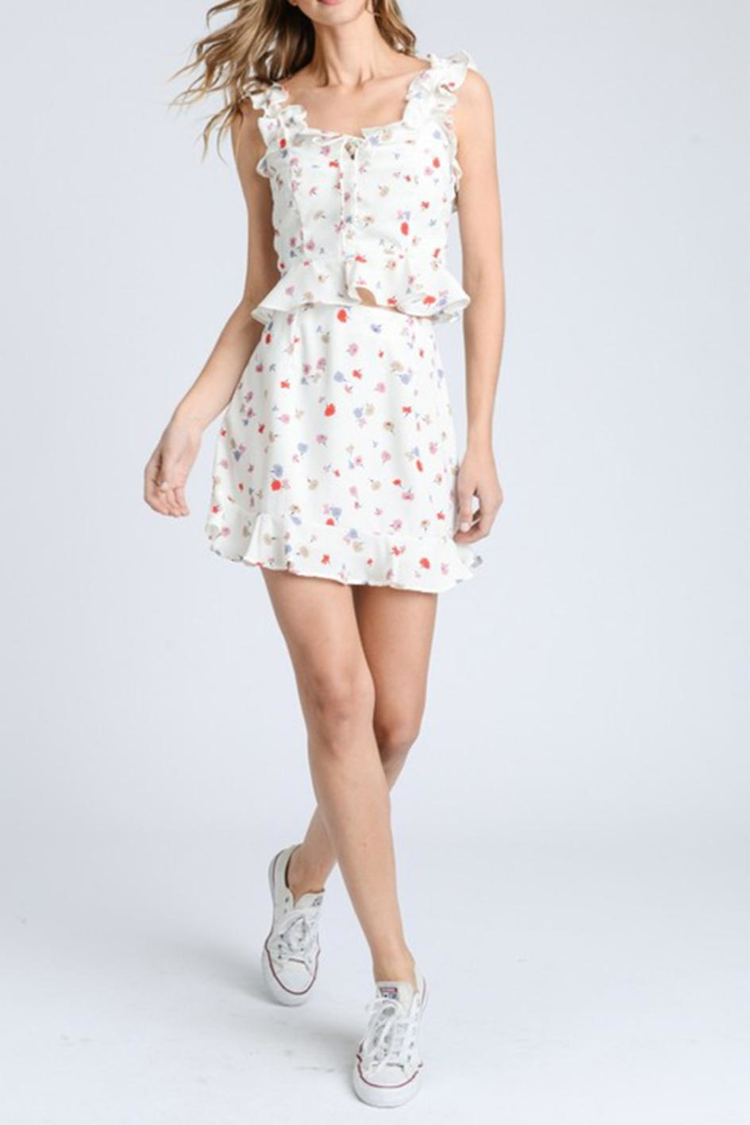 storia Ruffle Floral Top - Front Full Image