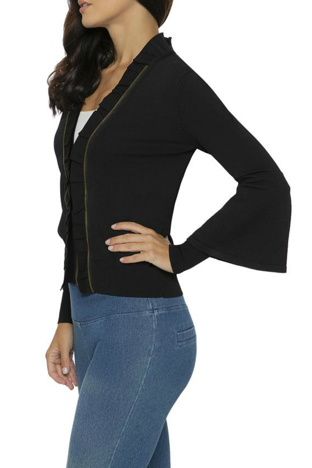 Lysse Ruffle Front Cardigan - Front Full Image