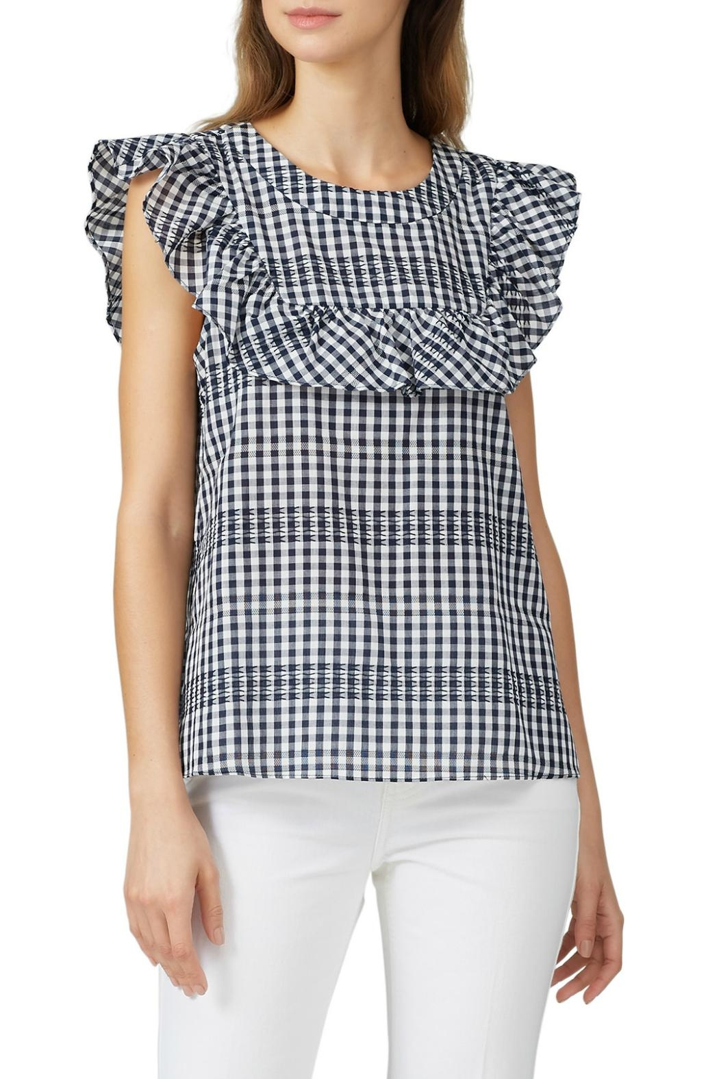 Waverly Grey Ruffle Gingham Top - Front Full Image