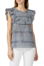 Waverly Grey Ruffle Gingham Top - Front full body