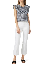Waverly Grey Ruffle Gingham Top - Front cropped