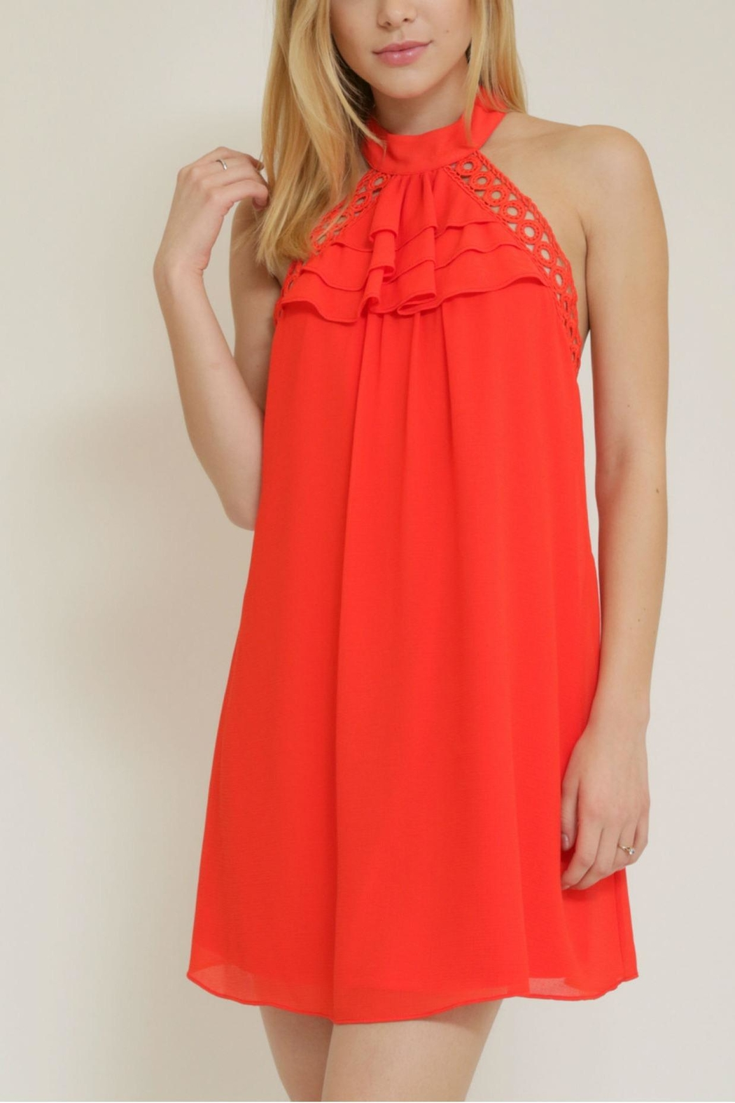 essue Ruffle Halter Dress - Side Cropped Image
