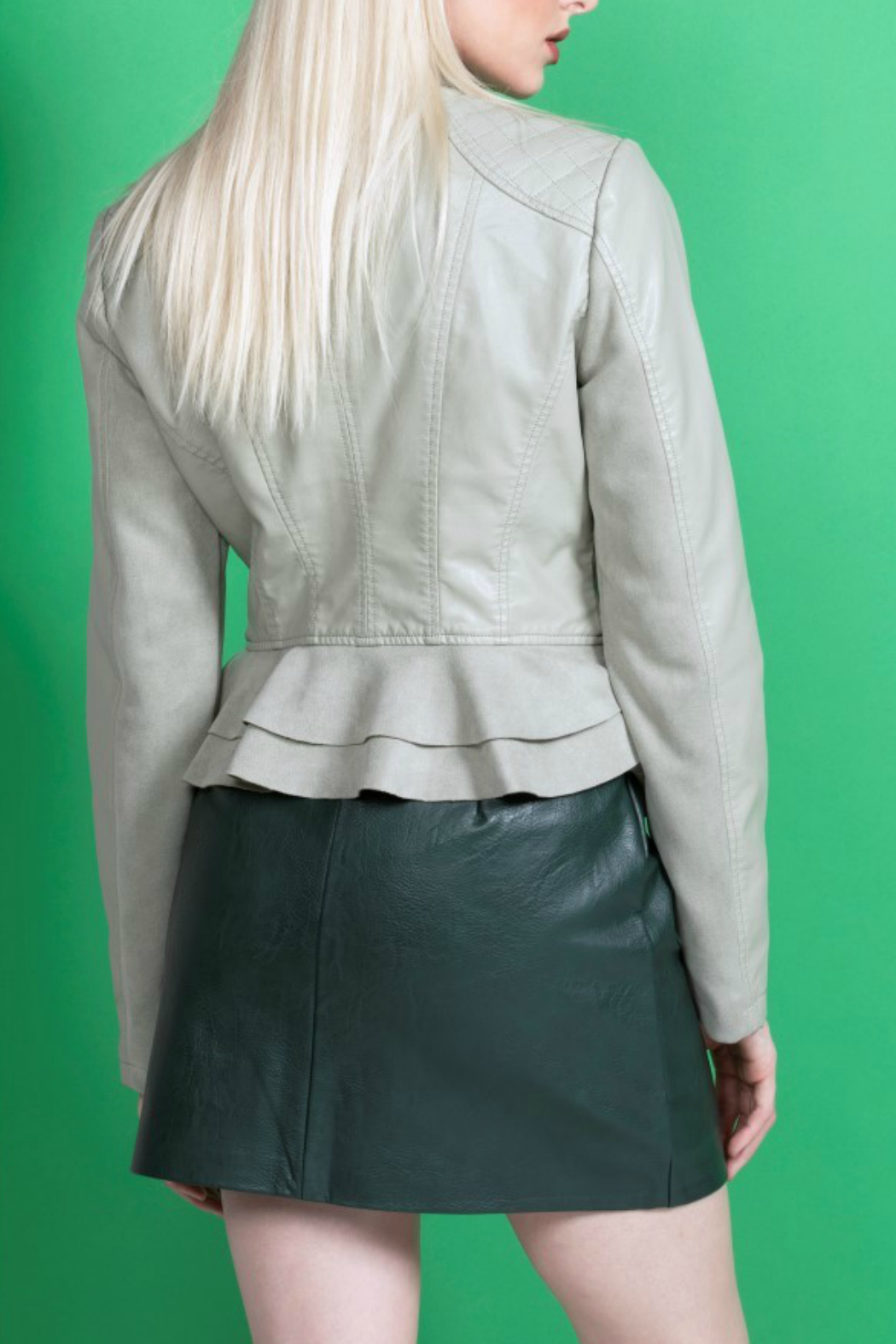 Coalition LA Ruffle hem jacket - Side Cropped Image