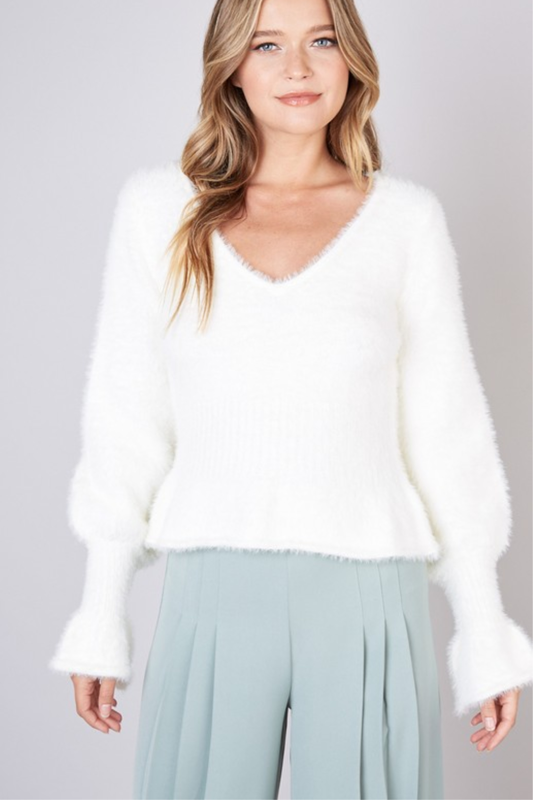 Do & Be Ruffle Hem Sweater - Front Cropped Image