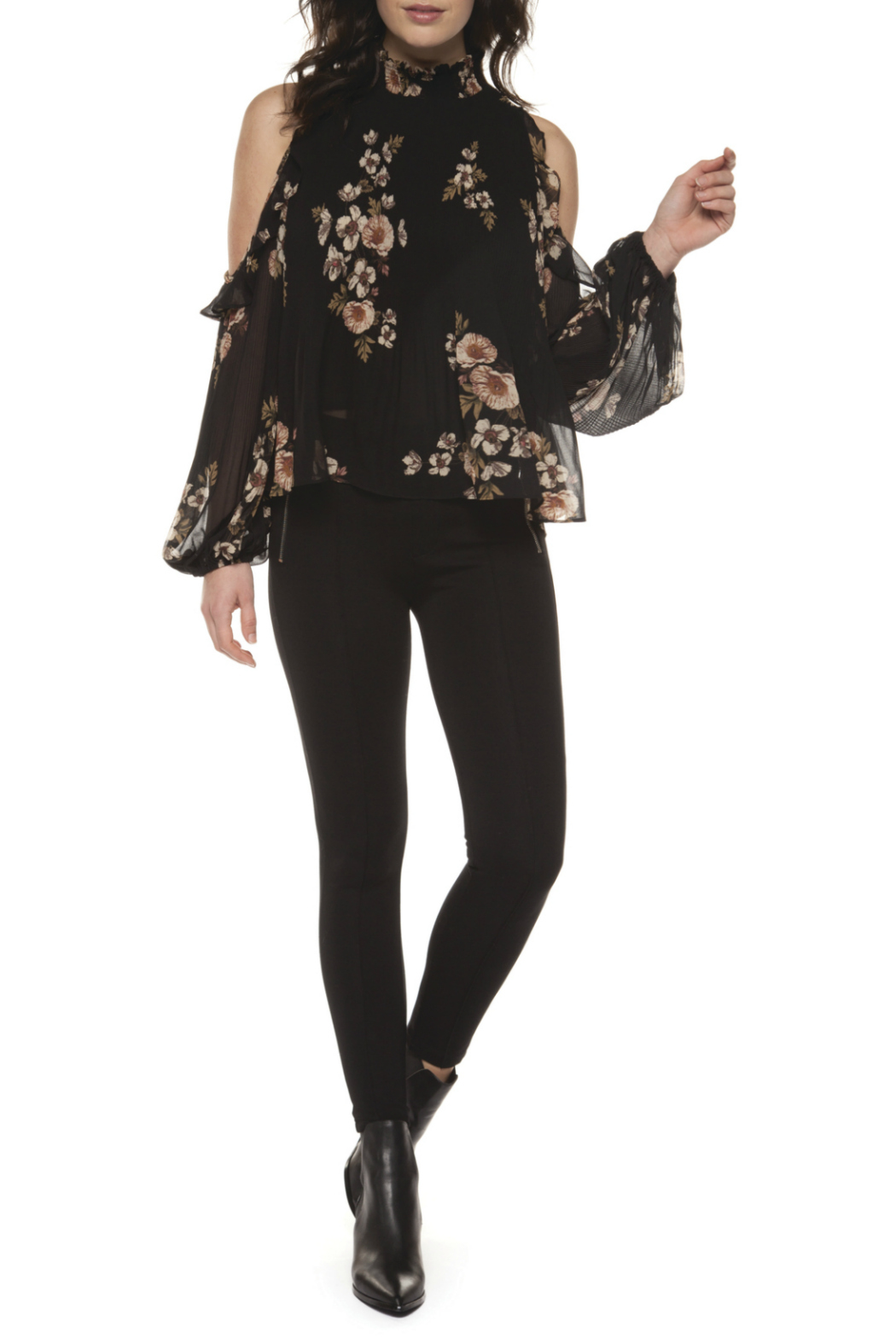 402f49a6314eb7 Black Tape Dex Ruffle Hi Neck Floral Cold Shoulder Blouse - Front Cropped  Image