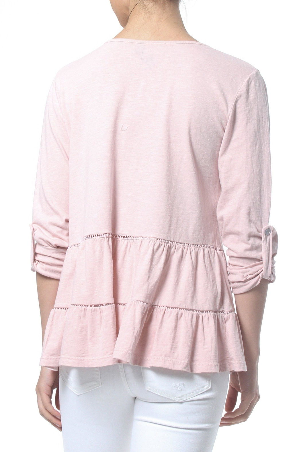 Madonna & Co Ruffle Knit Tee - Side Cropped Image