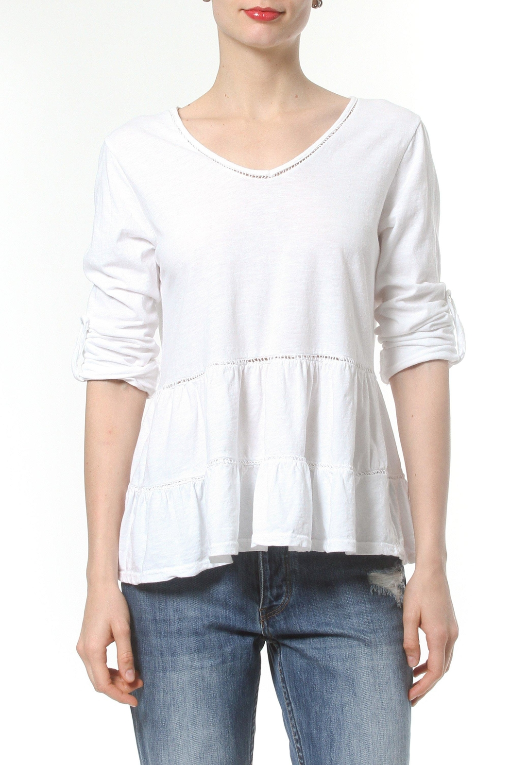 Madonna & Co Ruffle Knit Tee - Front Cropped Image