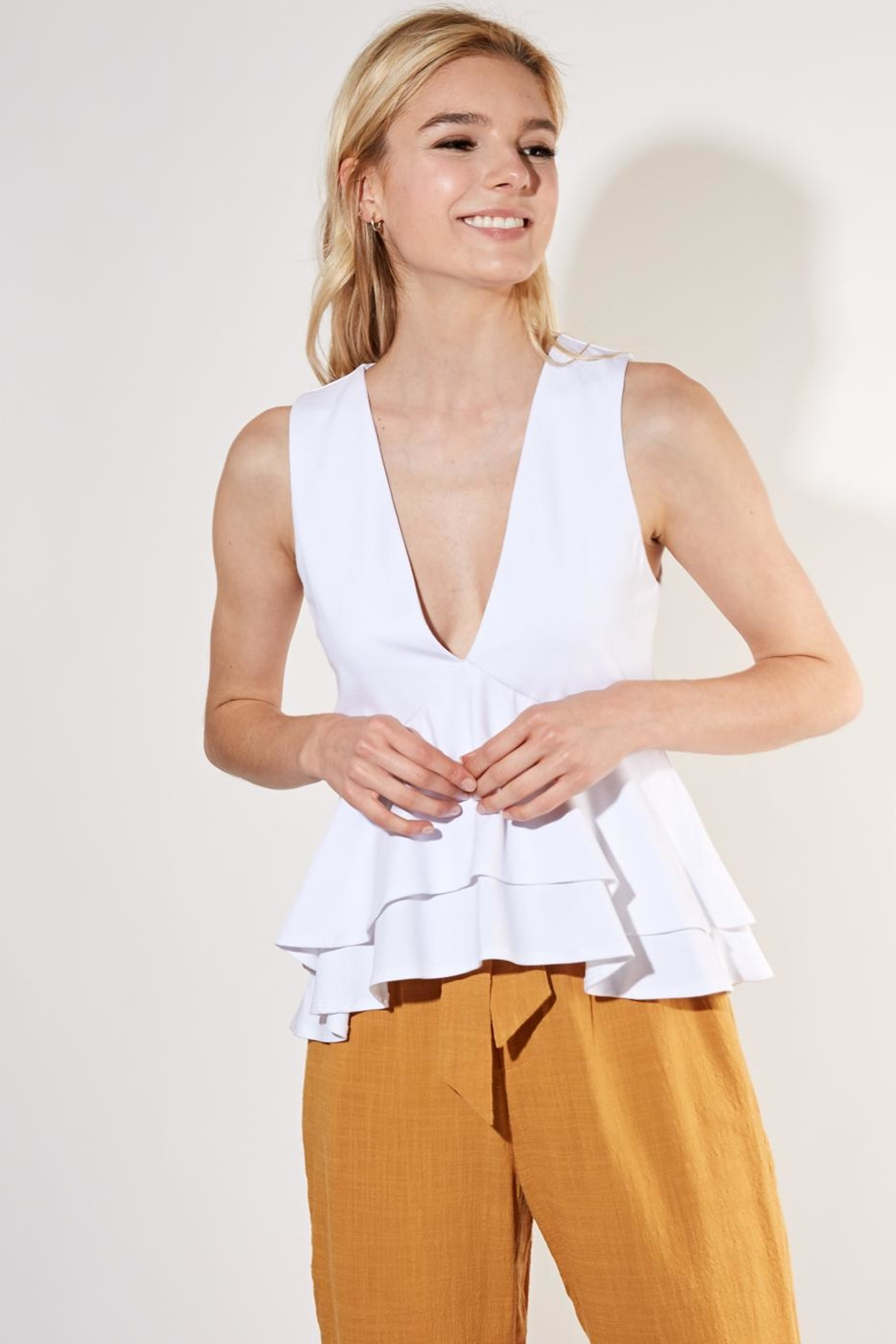 Mustard Seed Ruffle Layer Top - Front Cropped Image