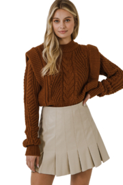 Endless Rose Ruffle Leather Skirt - Front cropped