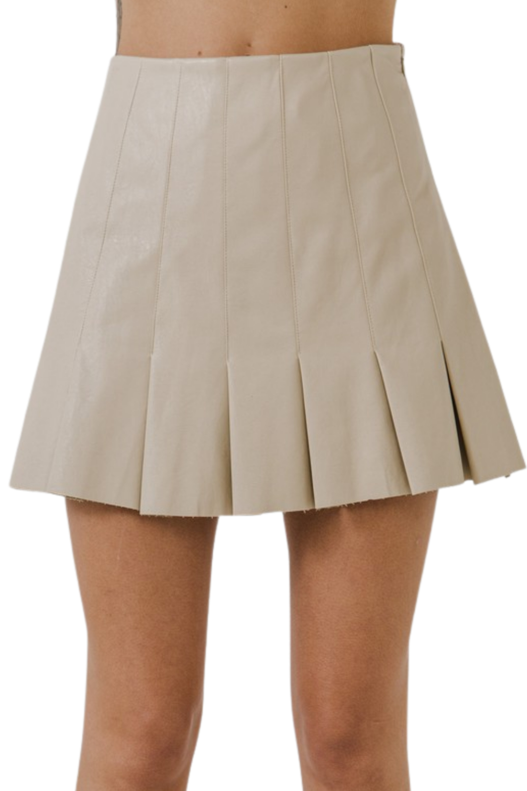 Endless Rose Ruffle Leather Skirt - Side Cropped Image