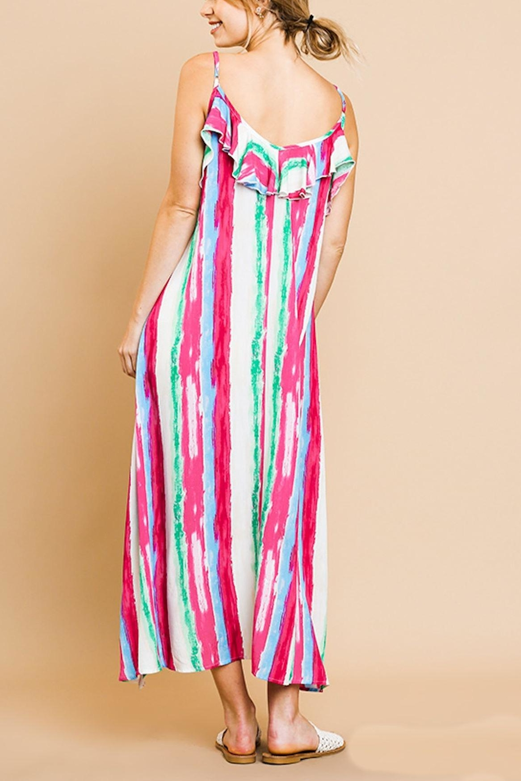 Umgee USA Ruffle Maxi Dress - Front Full Image