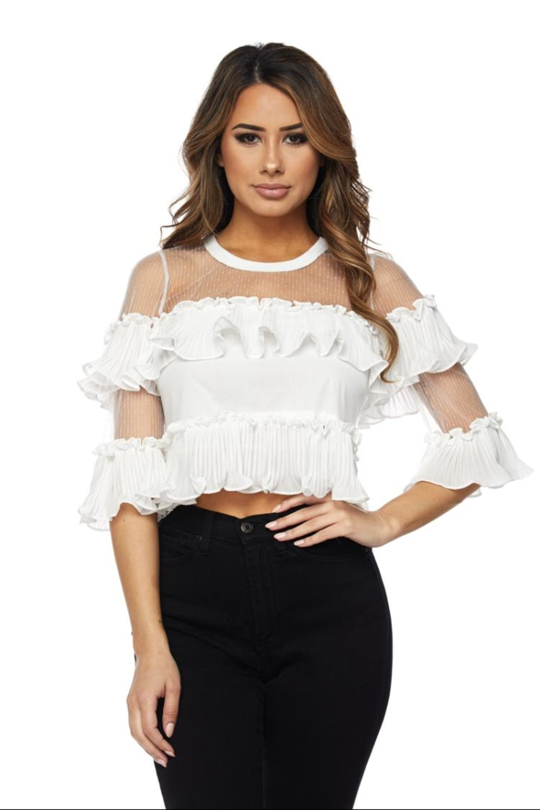 Hot & Delicious Ruffle Mesh Blouse - Front Cropped Image