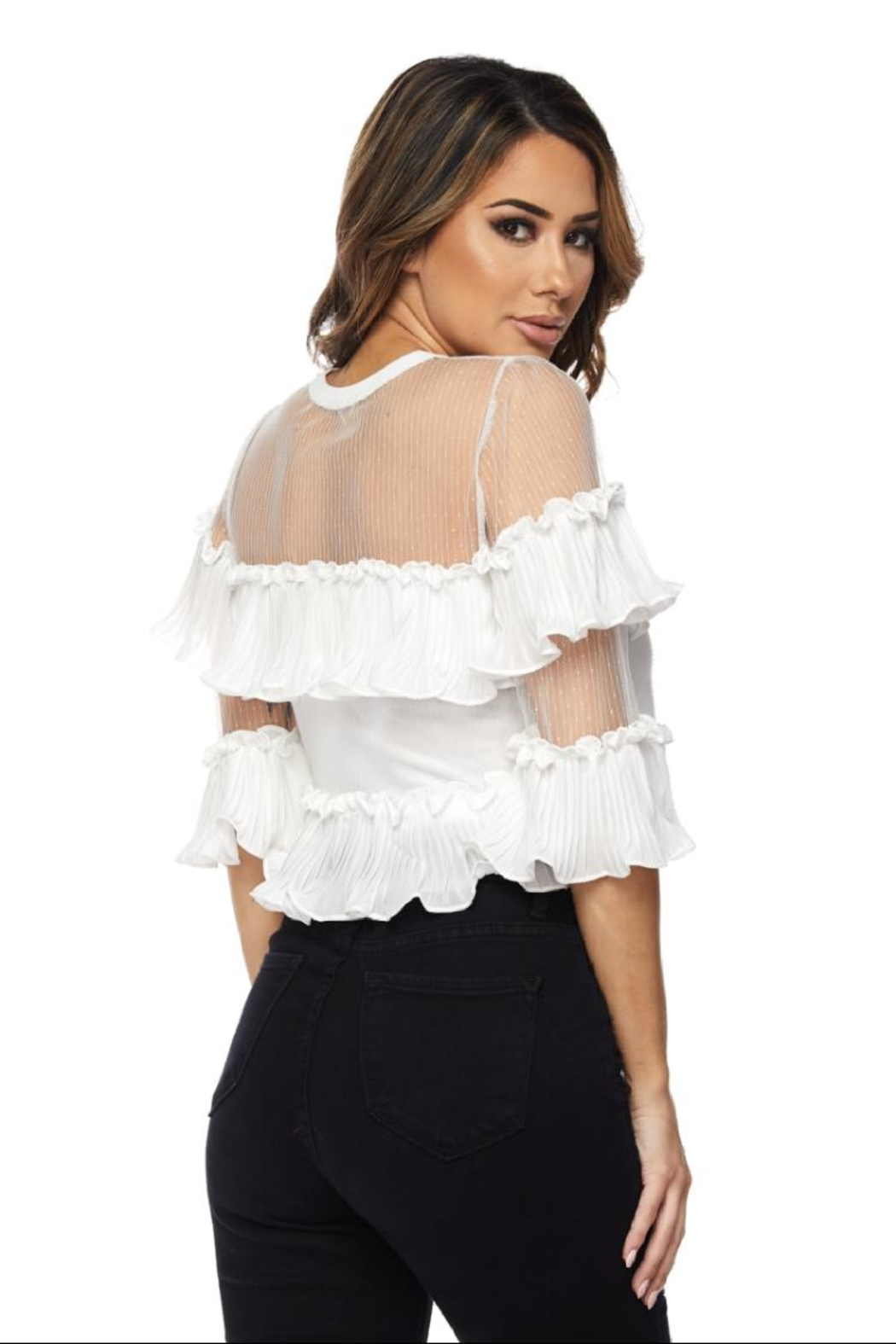 Hot & Delicious Ruffle Mesh Blouse - Front Full Image