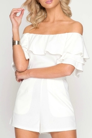 She + Sky Ruffle Off-Shoulder Romper - Front cropped