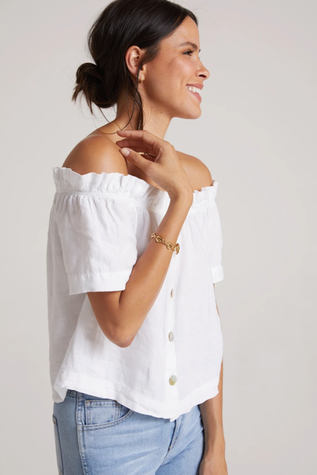 Bella Dahl  Ruffle Off Shoulder Top - Front Full Image