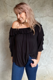 Apparel Love Ruffle off the Shoulder Top - Front full body