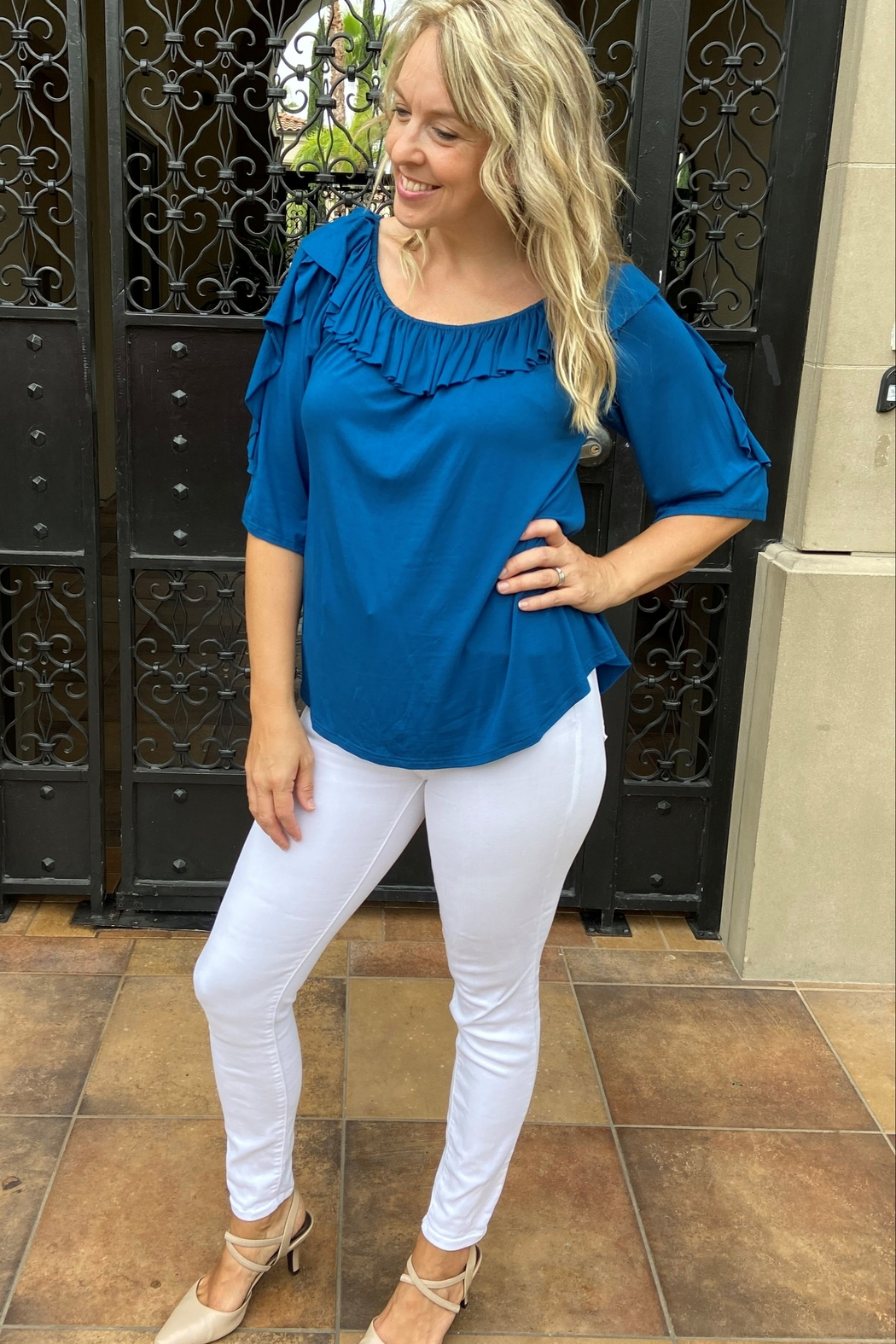 Apparel Love Ruffle off the Shoulder Top - Front Full Image