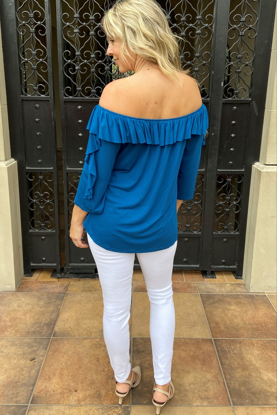 Apparel Love Ruffle off the Shoulder Top - Back Cropped Image
