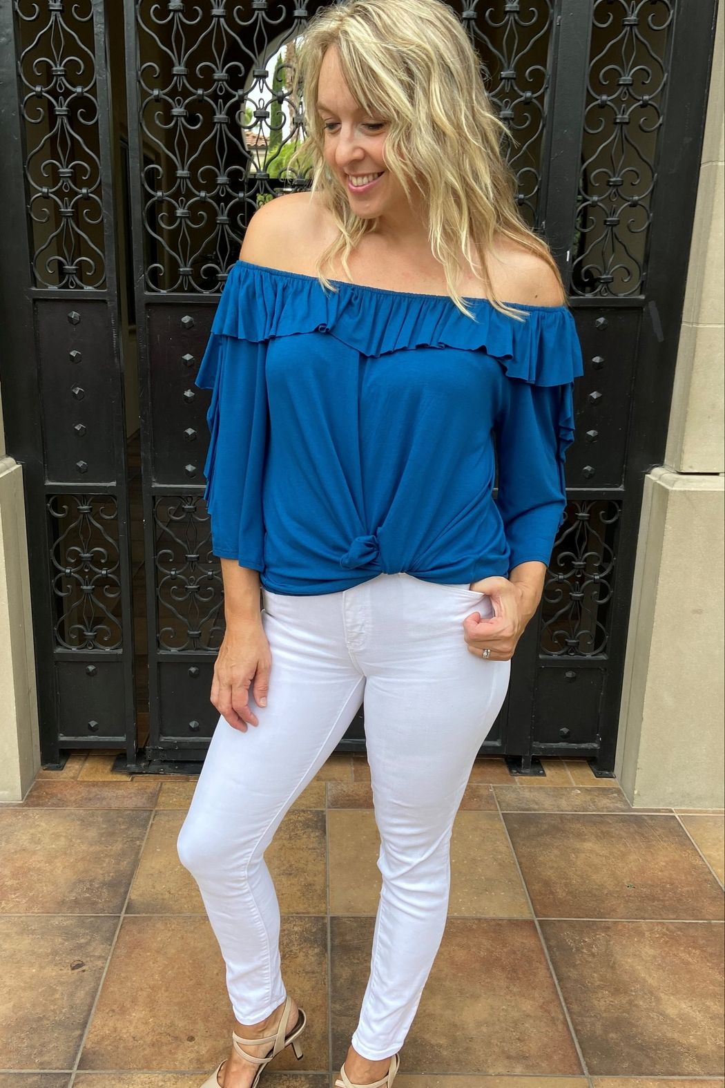 Apparel Love Ruffle off the Shoulder Top - Side Cropped Image