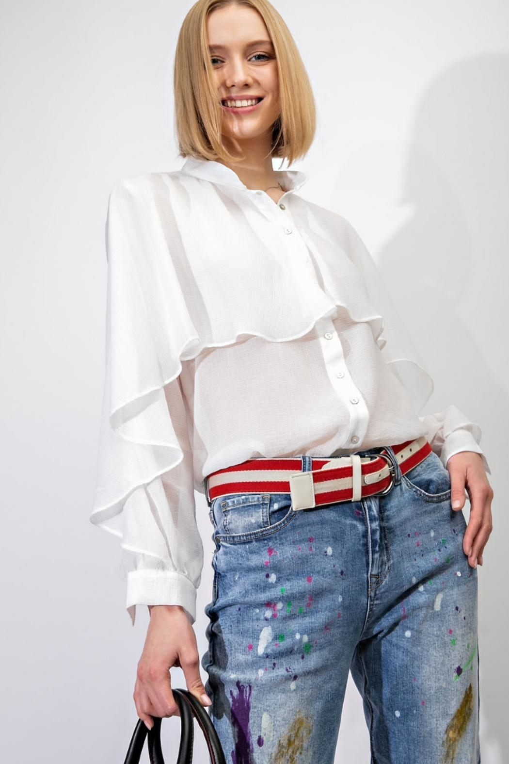easel Ruffle-Overlay Chiffon Blouse - Front Cropped Image
