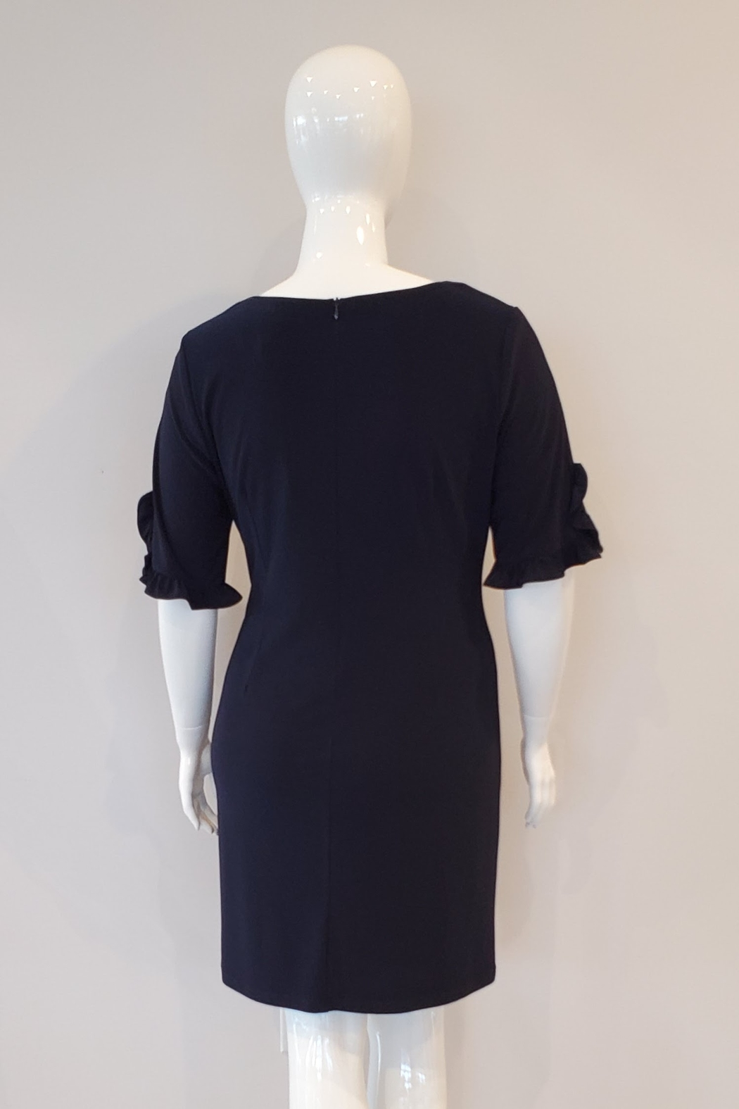 Frank Lyman Ruffle Pearl Sleeve Dress, Midnight - Front Full Image