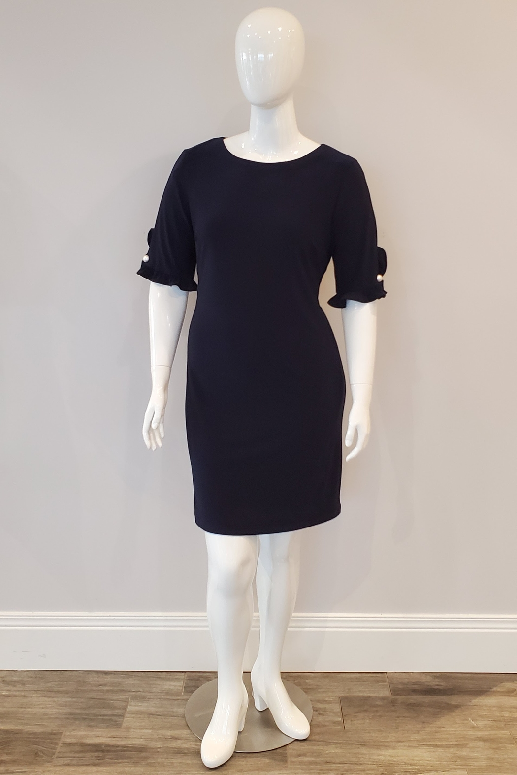 Frank Lyman Ruffle Pearl Sleeve Dress, Midnight - Front Cropped Image