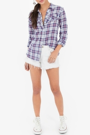 White Crow Ruffle Plaid Shirt - Front cropped