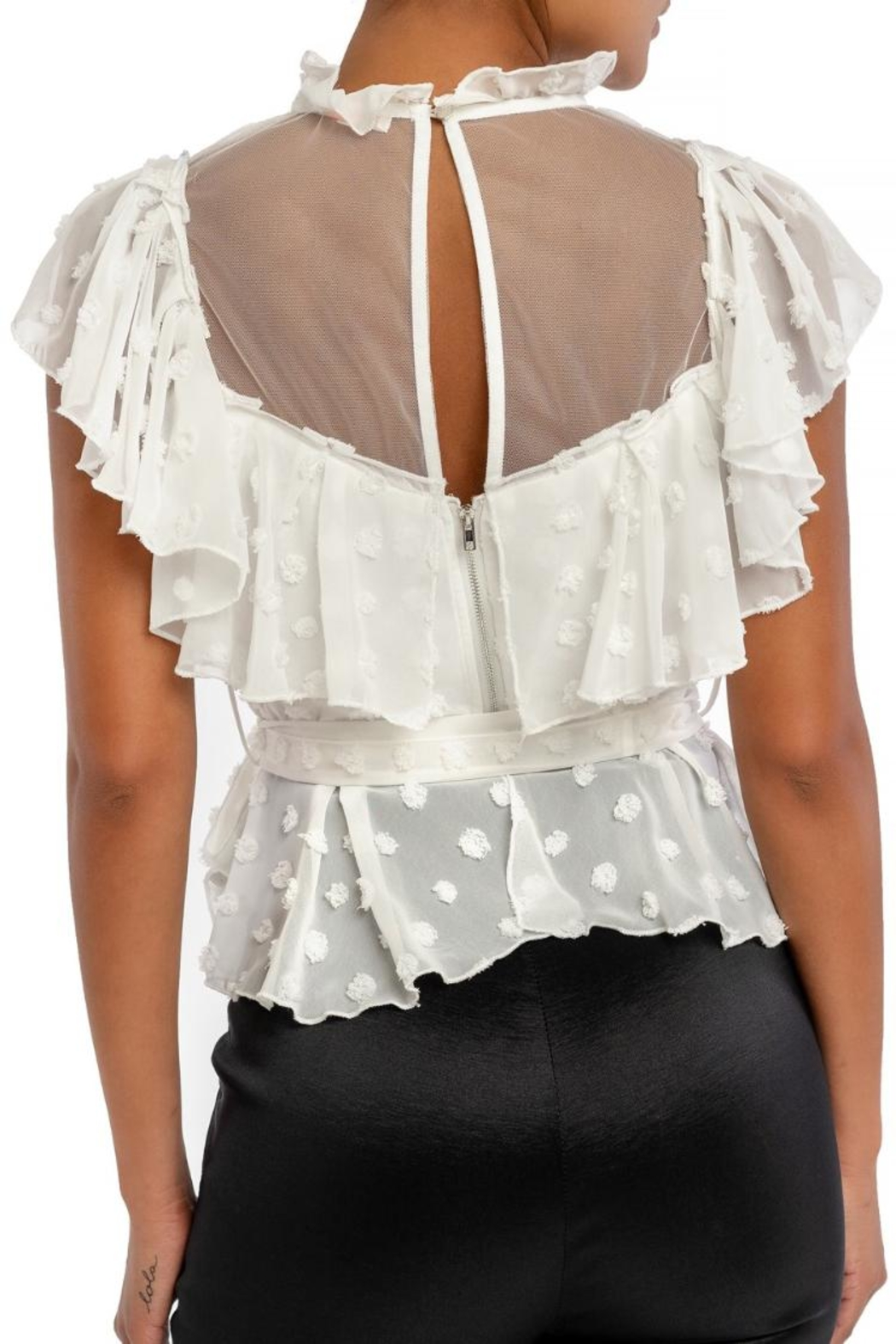 luxxel Ruffle Puff Wrap-Top - Front Full Image