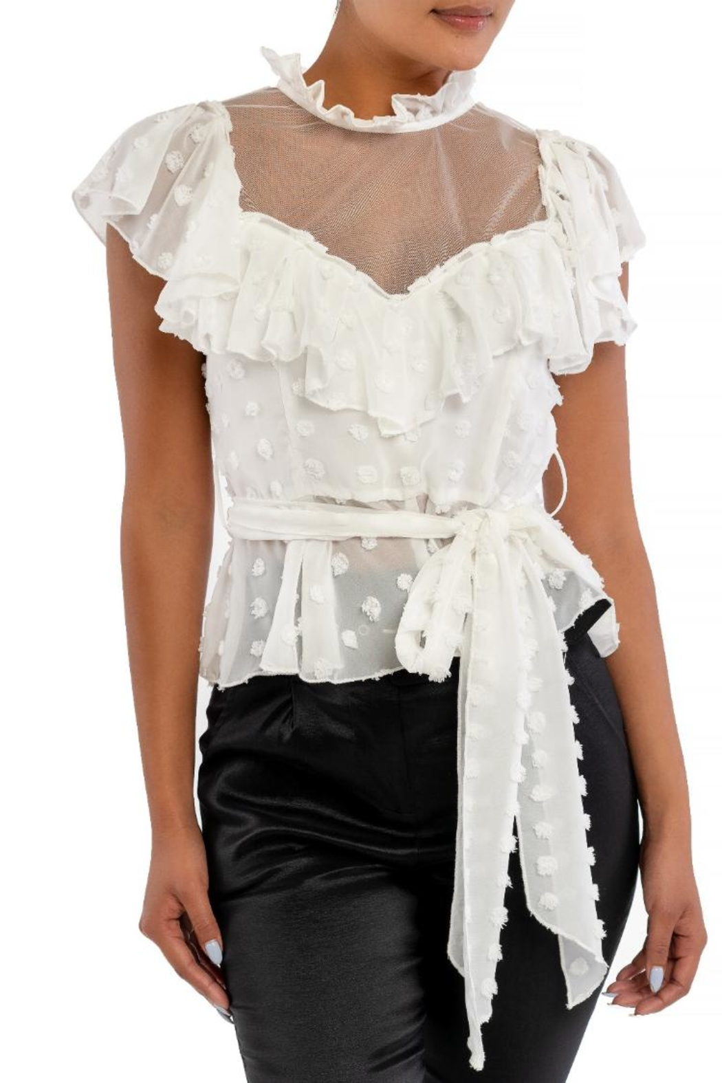 luxxel Ruffle Puff Wrap-Top - Front Cropped Image