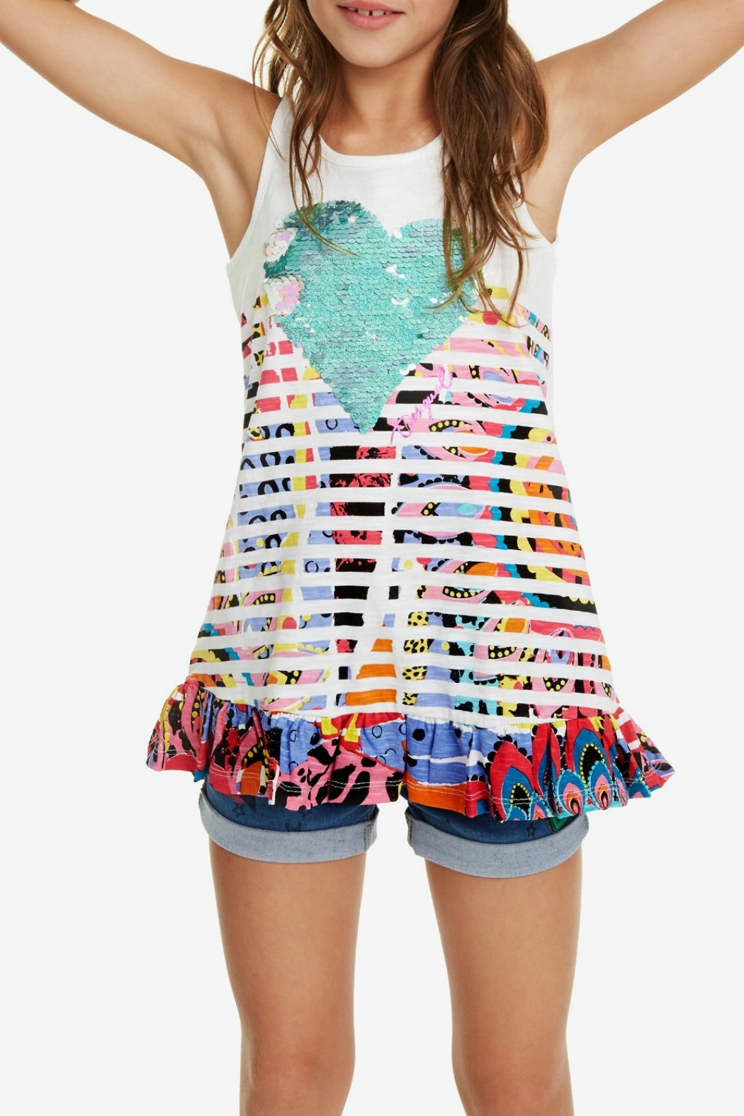 DESIGUAL Ruffle & Rear Bow T-shirt Oregon - Front Cropped Image