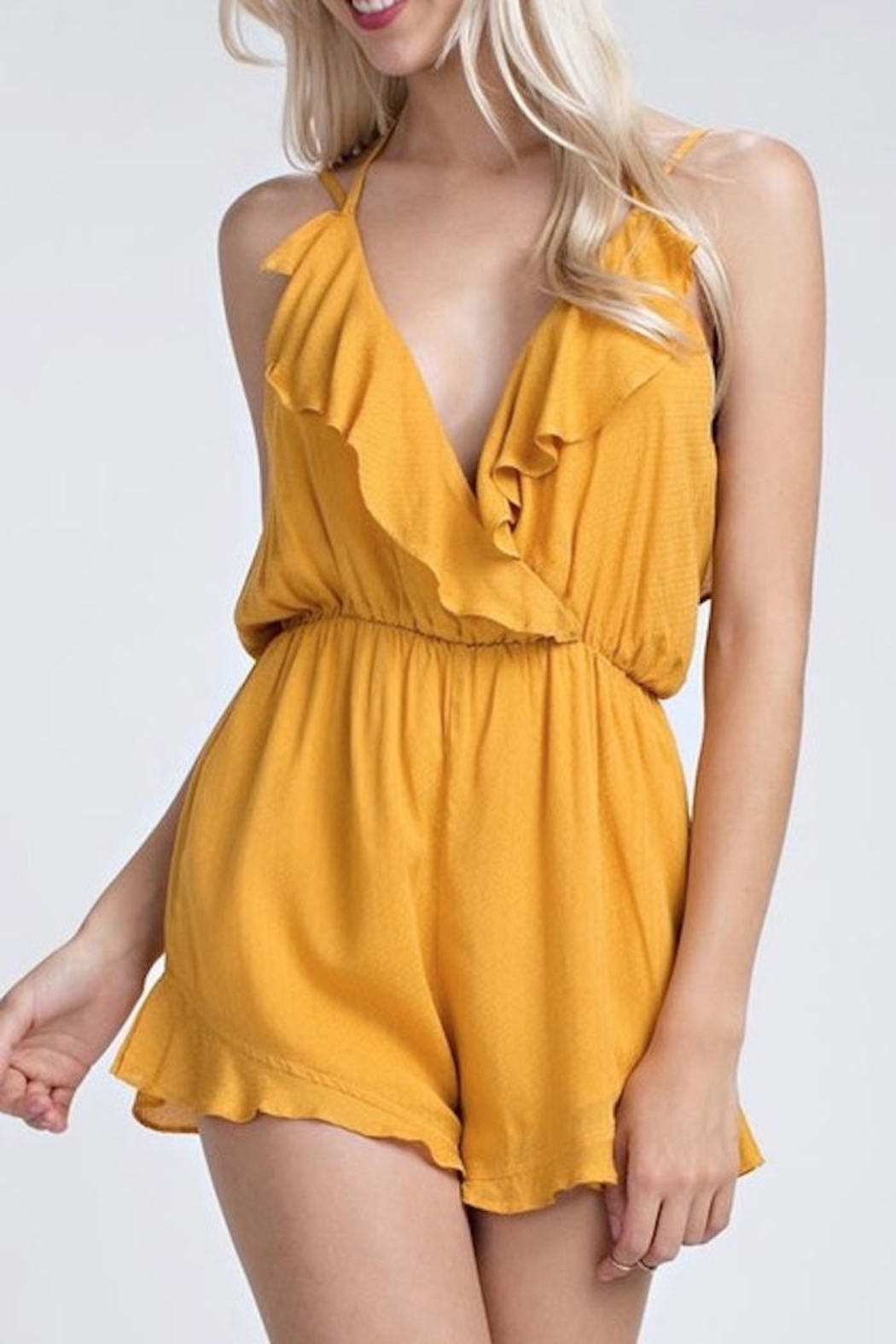 Honey Punch Ruffle Romper - Front Cropped Image