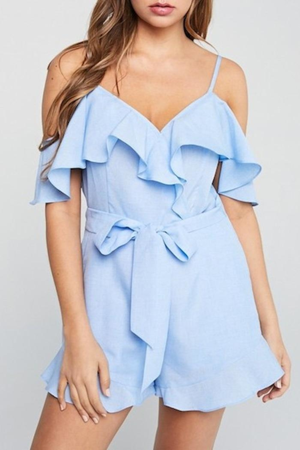 blue blush Ruffle Romper - Front Cropped Image