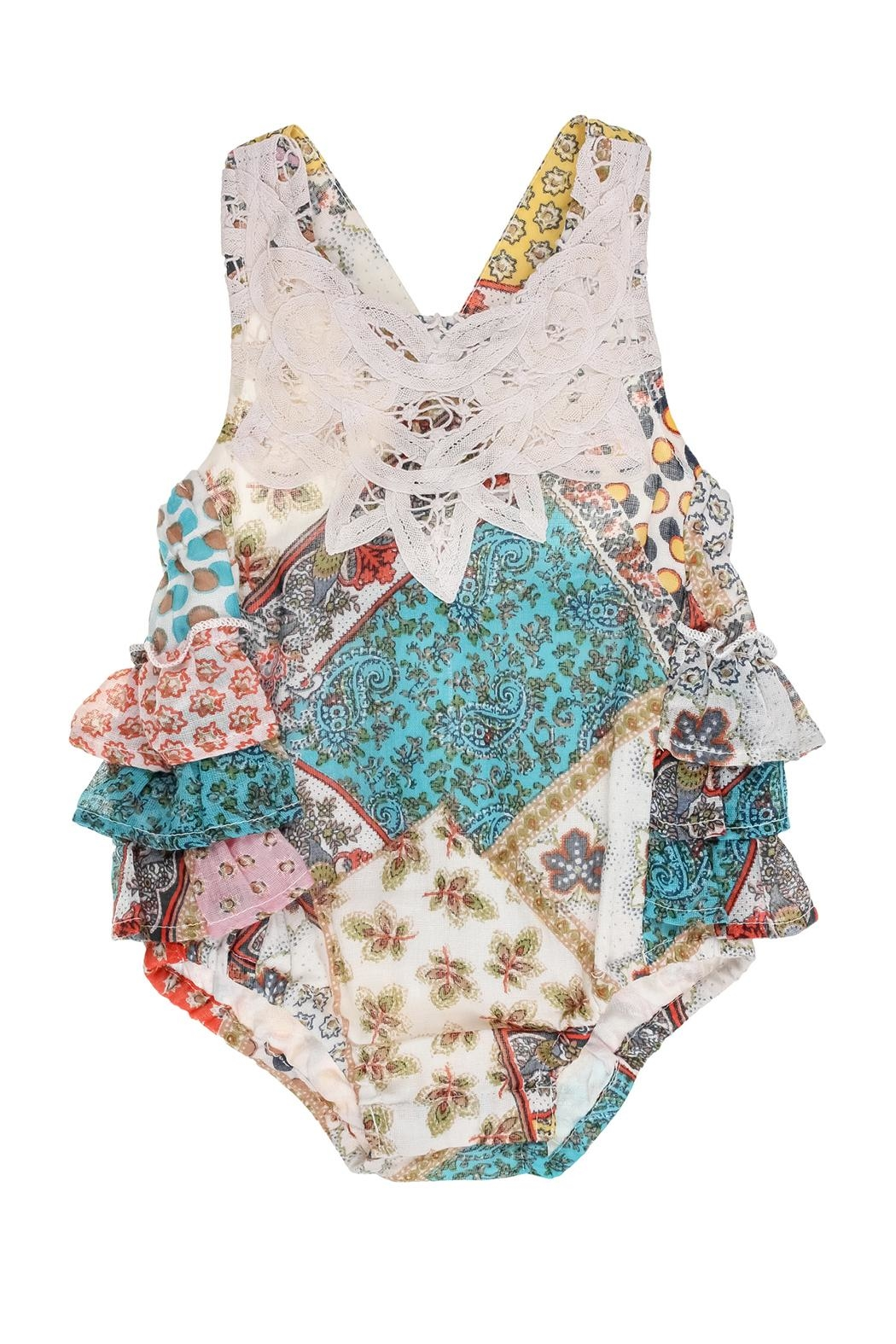 Mimi & Maggie Ruffle Romper - Front Cropped Image