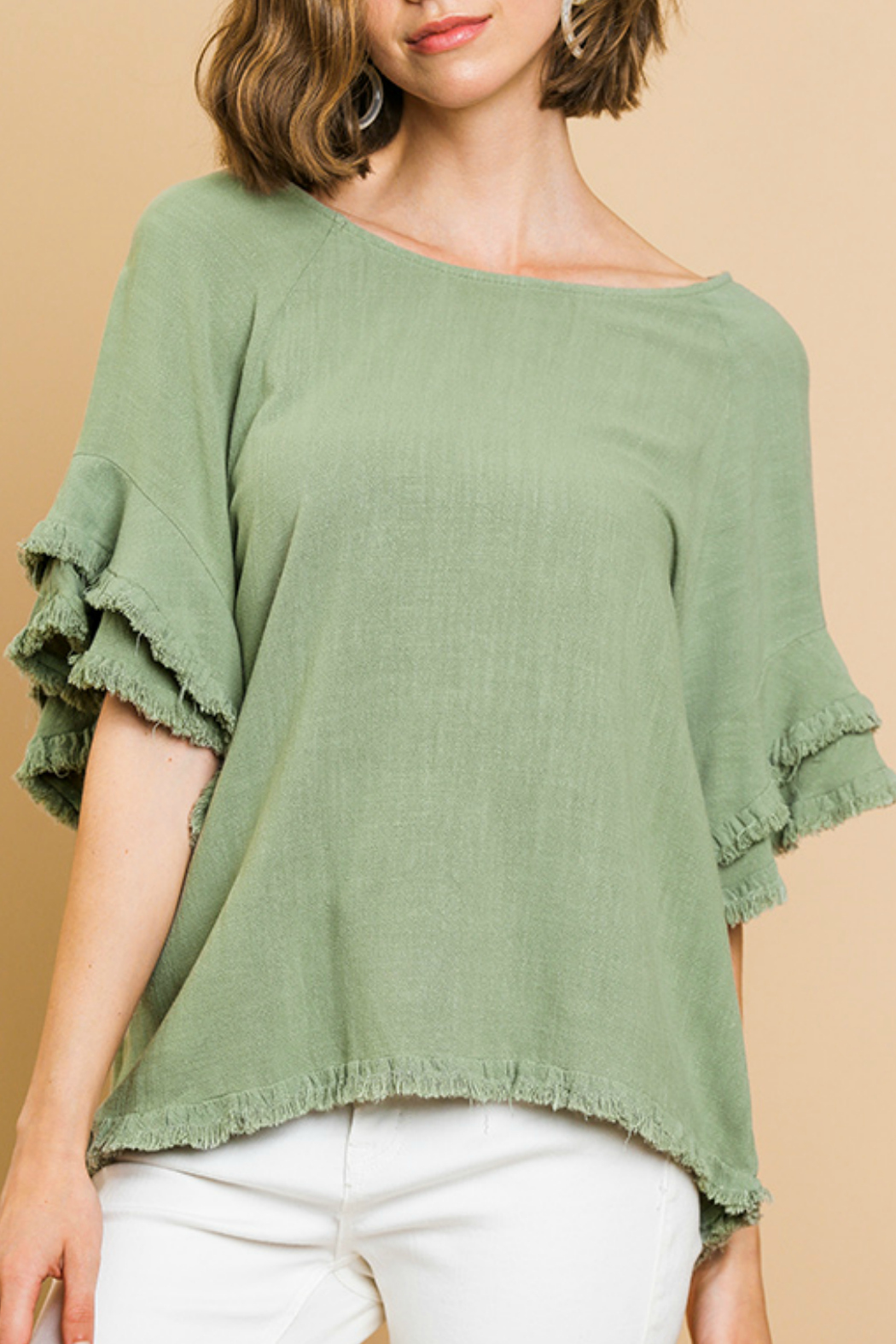Umgee  Ruffle Short Sleeve TOp - Front Cropped Image