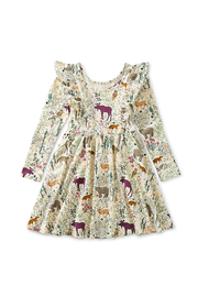 Tea Collection  Ruffle Shoulder Ballet Dress - Swedish Forest - Front full body
